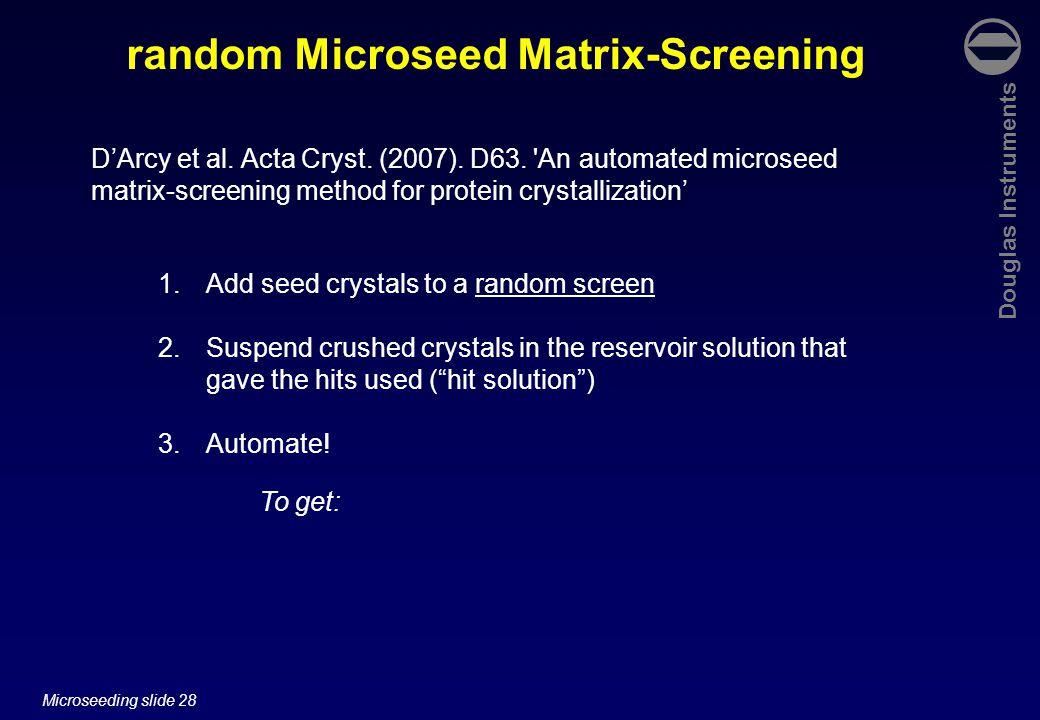 Douglas Instruments Microseeding slide 28 random Microseed Matrix-Screening To get: D'Arcy et al. Acta Cryst. (2007). D63. 'An automated microseed mat