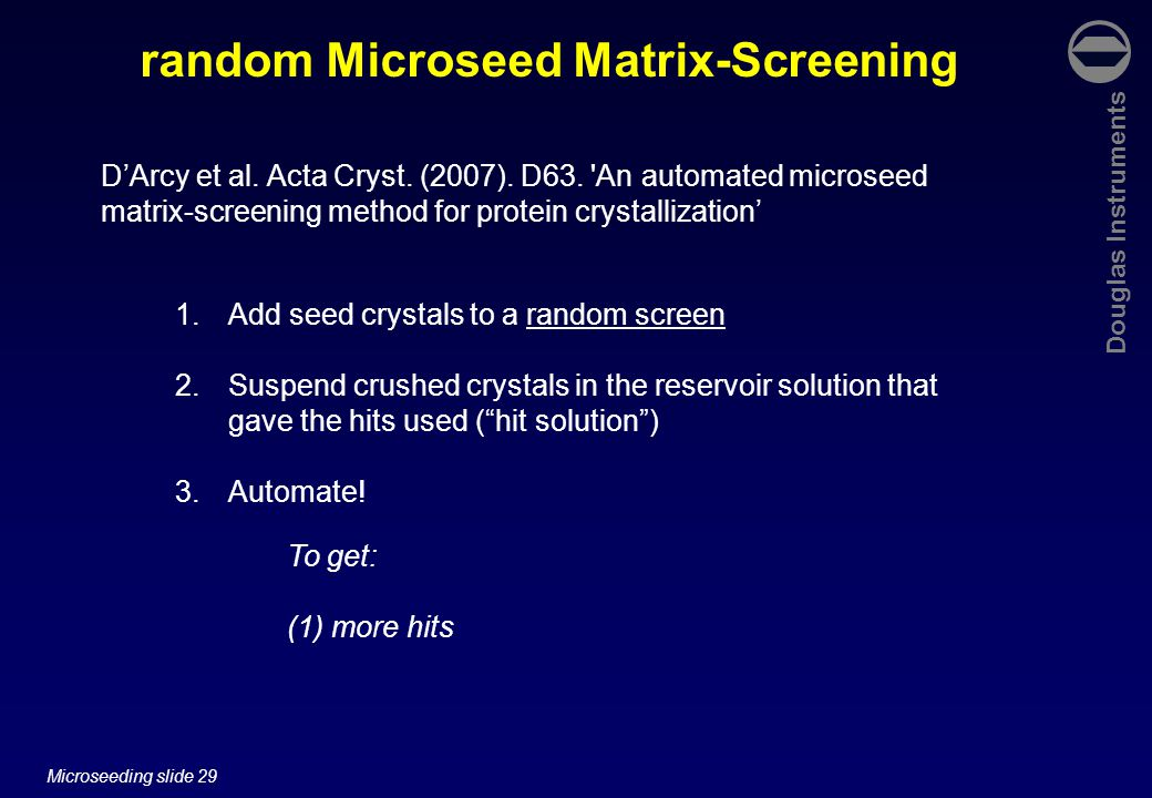 Douglas Instruments Microseeding slide 29 random Microseed Matrix-Screening To get: (1) more hits D'Arcy et al.