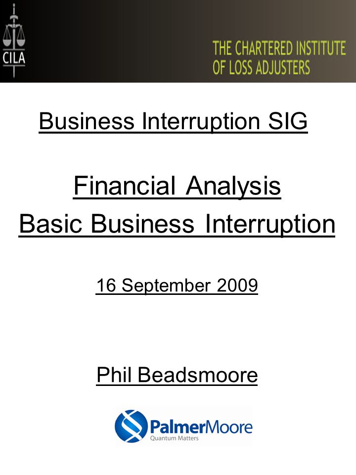 Business Interruption SIG Financial Analysis Basic Business Interruption 16 September 2009 Phil Beadsmoore