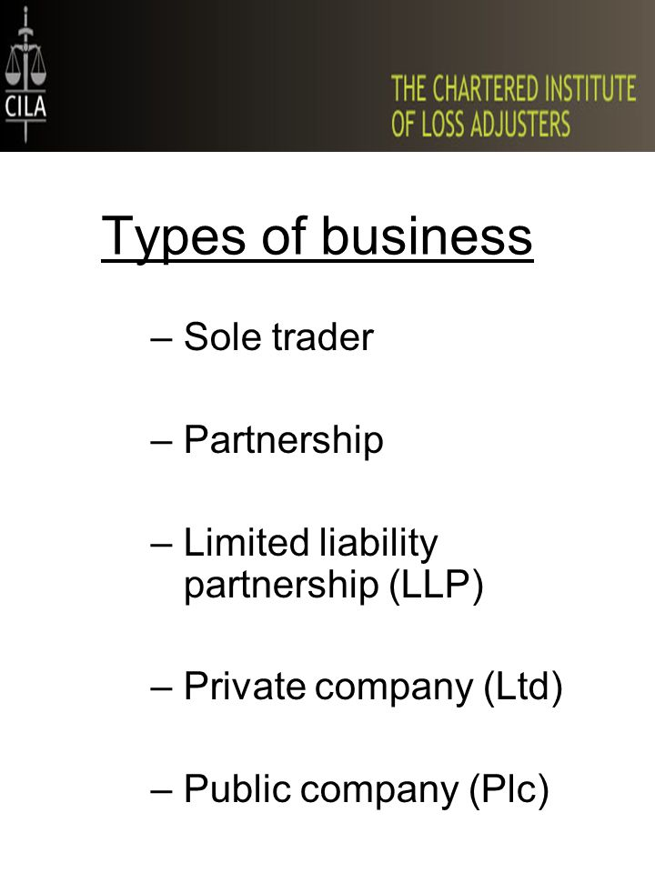 Types of business –Sole trader –Partnership –Limited liability partnership (LLP) –Private company (Ltd) –Public company (Plc)