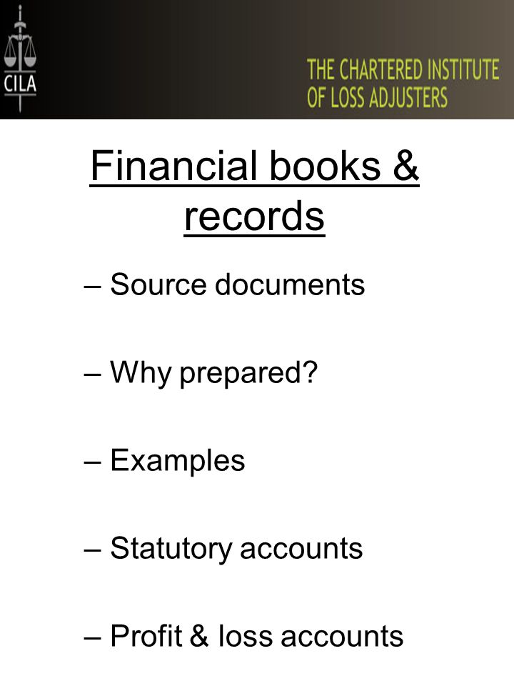 Financial books & records –Source documents –Why prepared? –Examples –Statutory accounts –Profit & loss accounts