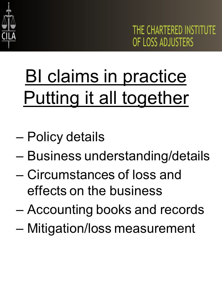 BI claims in practice Putting it all together –Policy details –Business understanding/details –Circumstances of loss and effects on the business –Acco