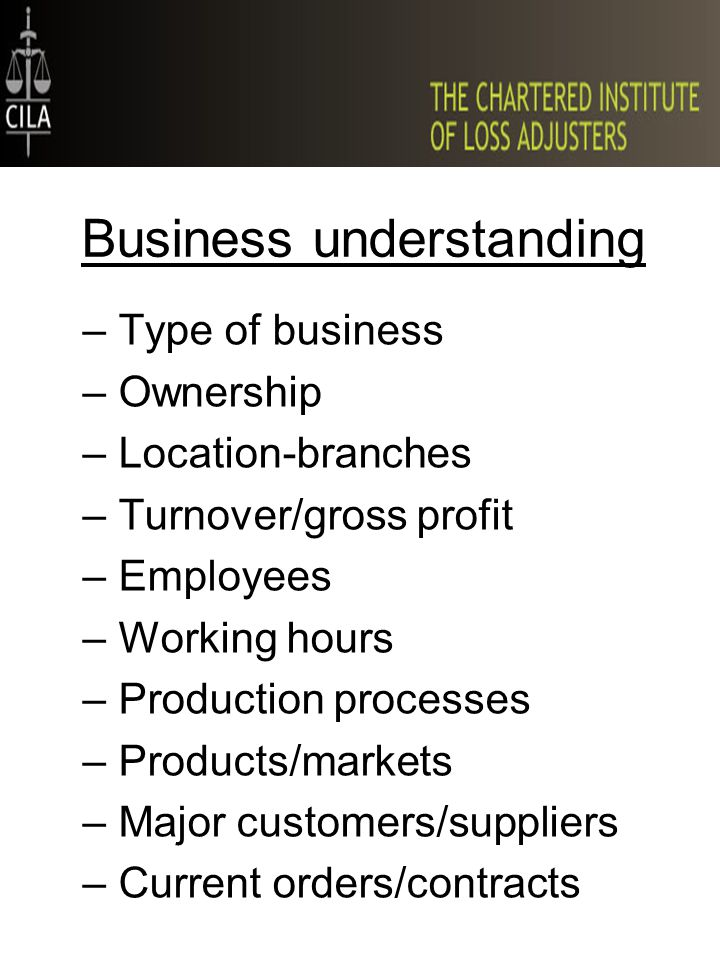 Business understanding –Type of business –Ownership –Location-branches –Turnover/gross profit –Employees –Working hours –Production processes –Product