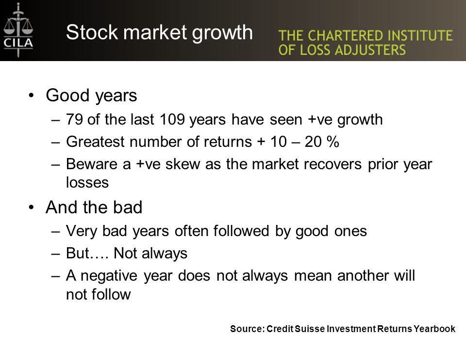 Stock market growth Good years –79 of the last 109 years have seen +ve growth –Greatest number of returns + 10 – 20 % –Beware a +ve skew as the market recovers prior year losses And the bad –Very bad years often followed by good ones –But….