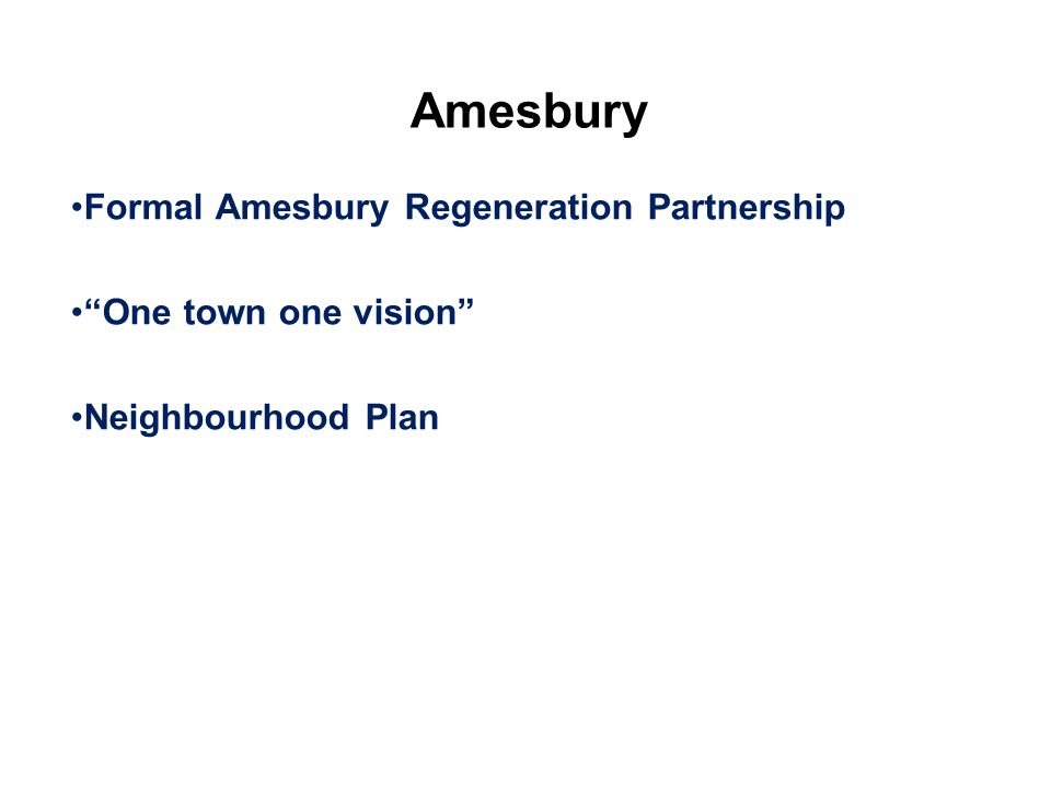 Amesbury Formal Amesbury Regeneration Partnership One town one vision Neighbourhood Plan