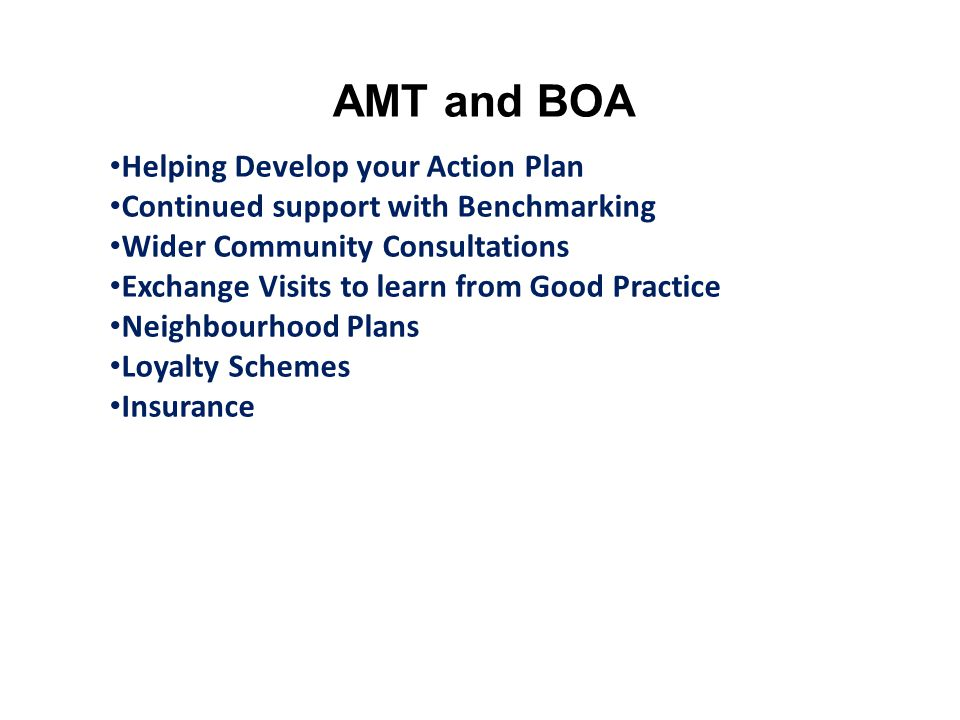 AMT and BOA Helping Develop your Action Plan Continued support with Benchmarking Wider Community Consultations Exchange Visits to learn from Good Practice Neighbourhood Plans Loyalty Schemes Insurance
