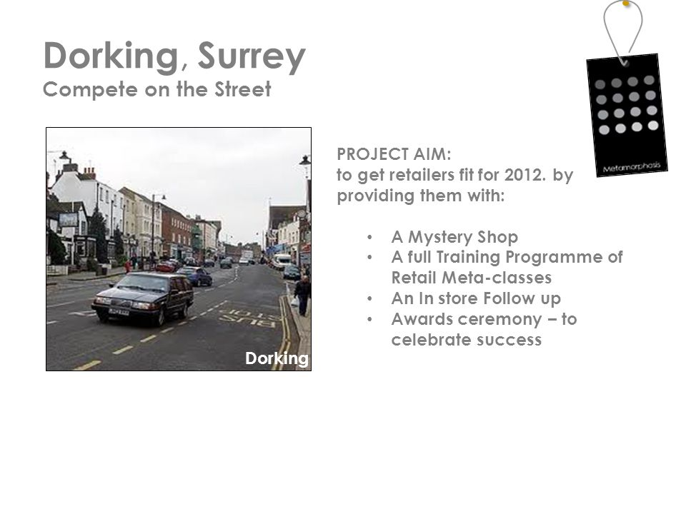 Dorking, Surrey Compete on the Street Dorking PROJECT AIM: to get retailers fit for 2012.