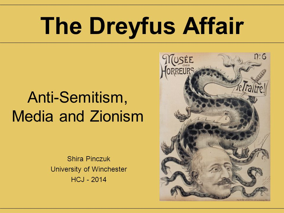 Anti-Semitism, Media and Zionism Shira Pinczuk University of Winchester HCJ - 2014 The Dreyfus Affair