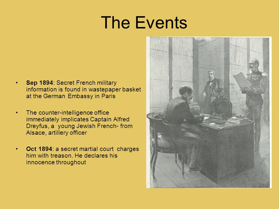 The Events Sep 1894: Secret French military information is found in wastepaper basket at the German Embassy in Paris The counter-intelligence office immediately implicates Captain Alfred Dreyfus, a young Jewish French- from Alsace, artillery officer Oct 1894: a secret martial court charges him with treason.