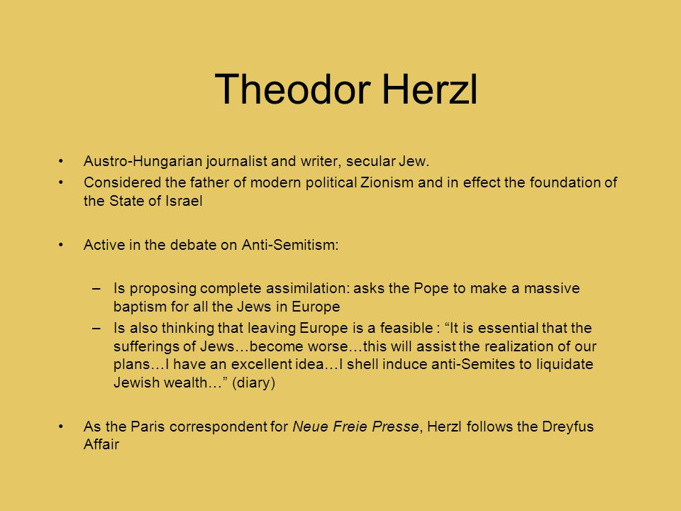 Theodor Herzl Austro-Hungarian journalist and writer, secular Jew.