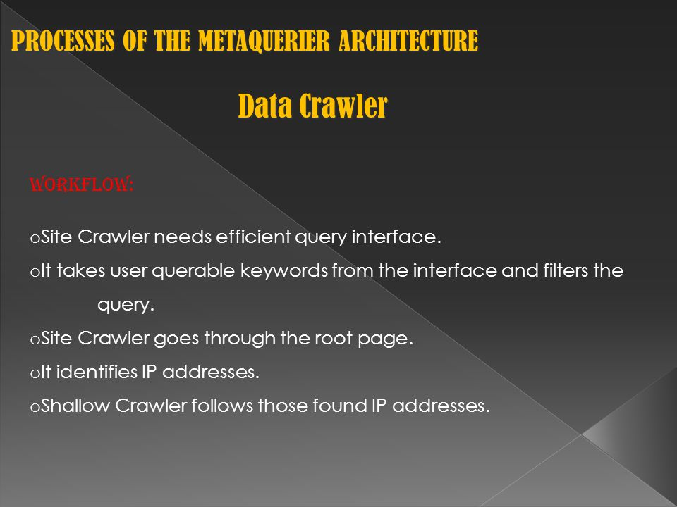 PROCESSES OF THE METAQUERIER ARCHITECTURE PROCESSES OF THE METAQUERIER ARCHITECTURE Data Crawler Workflow: o Site Crawler needs efficient query interface.