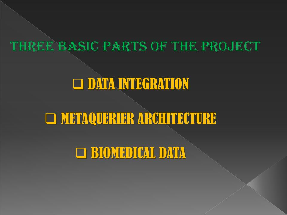  DATA INTEGRATION  METAQUERIER ARCHITECTURE  BIOMEDICAL DATA Three basic parts of the project