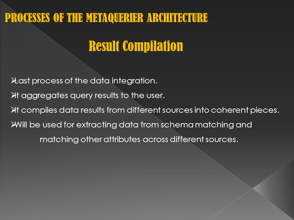 PROCESSES OF THE METAQUERIER ARCHITECTURE PROCESSES OF THE METAQUERIER ARCHITECTURE Result Compilation  Last process of the data integration.