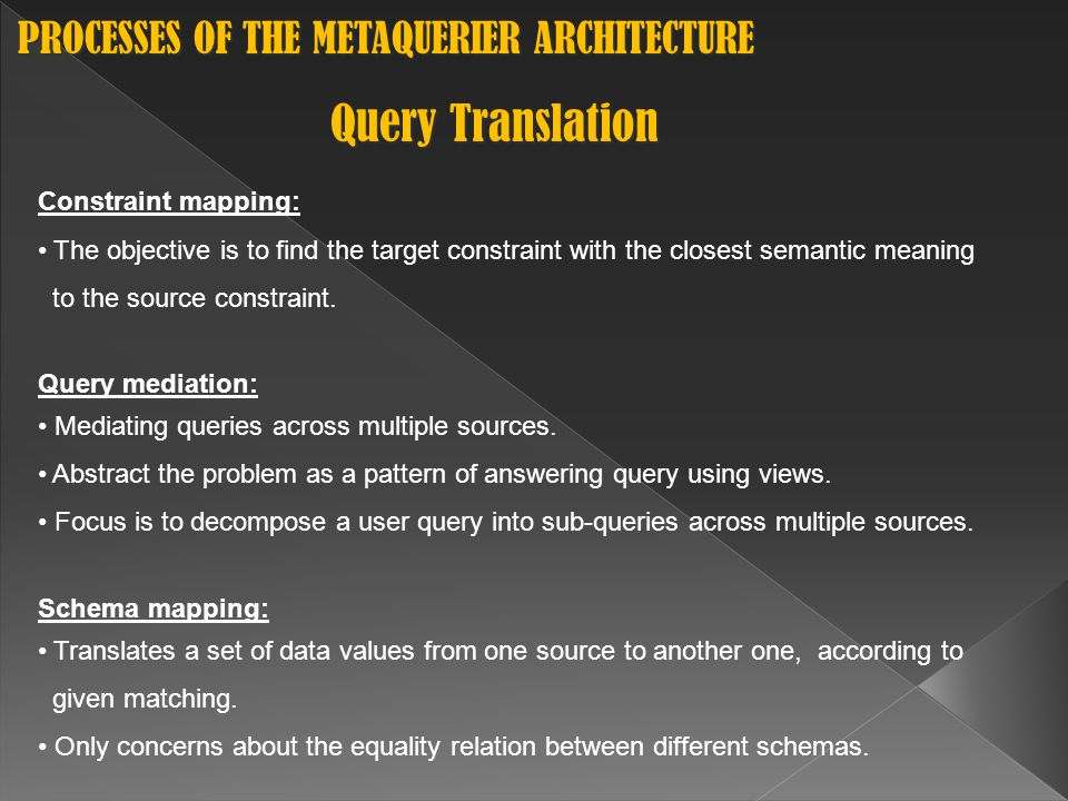 Query Translation Constraint mapping: The objective is to find the target constraint with the closest semantic meaning to the source constraint.