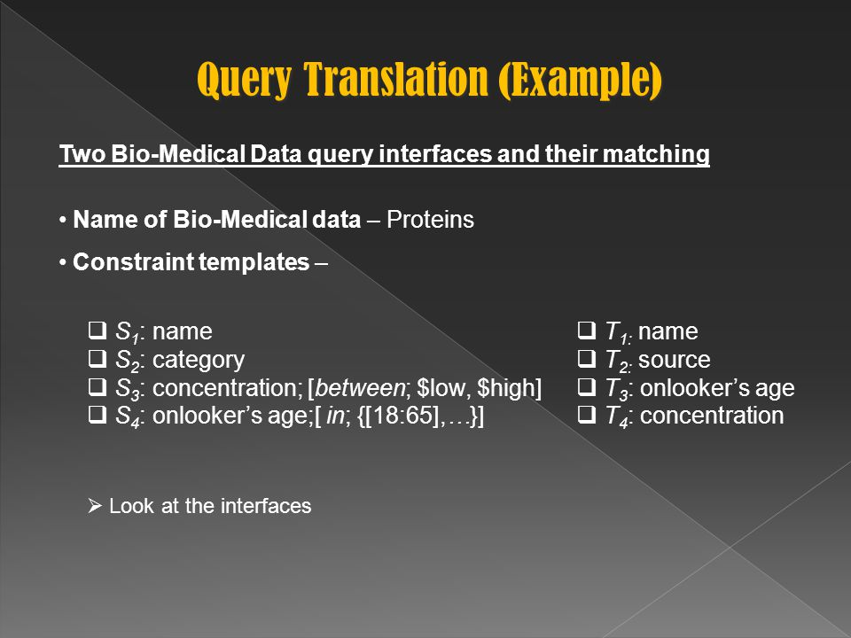 Query Translation (Example) Two Bio-Medical Data query interfaces and their matching Name of Bio-Medical data – Proteins Constraint templates –  Look at the interfaces  T 1: name  T 2: source  T 3 : onlooker's age  T 4 : concentration  S 1 : name  S 2 : category  S 3 : concentration; [between; $low, $high]  S 4 : onlooker's age;[ in; {[18:65],…}]