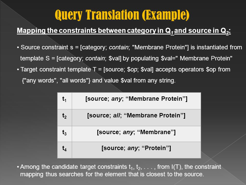 Mapping the constraints between category in Q 1 and source in Q 2 : Source constraint s = [category; contain; Membrane Protein ] is instantiated from template S = [category; contain; $val] by populating $val= Membrane Protein Target constraint template T = [source; $op; $val] accepts operators $op from { any words , all words } and value $val from any string.