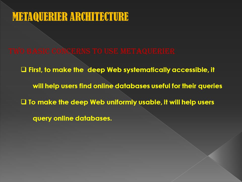 Two basic concerns to use MetaQuerier  First, to make the deep Web systematically accessible, it will help users find online databases useful for their queries  To make the deep Web uniformly usable, it will help users query online databases.