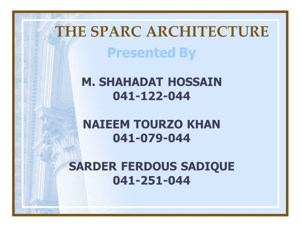 THE SPARC ARCHITECTURE Presented By M.