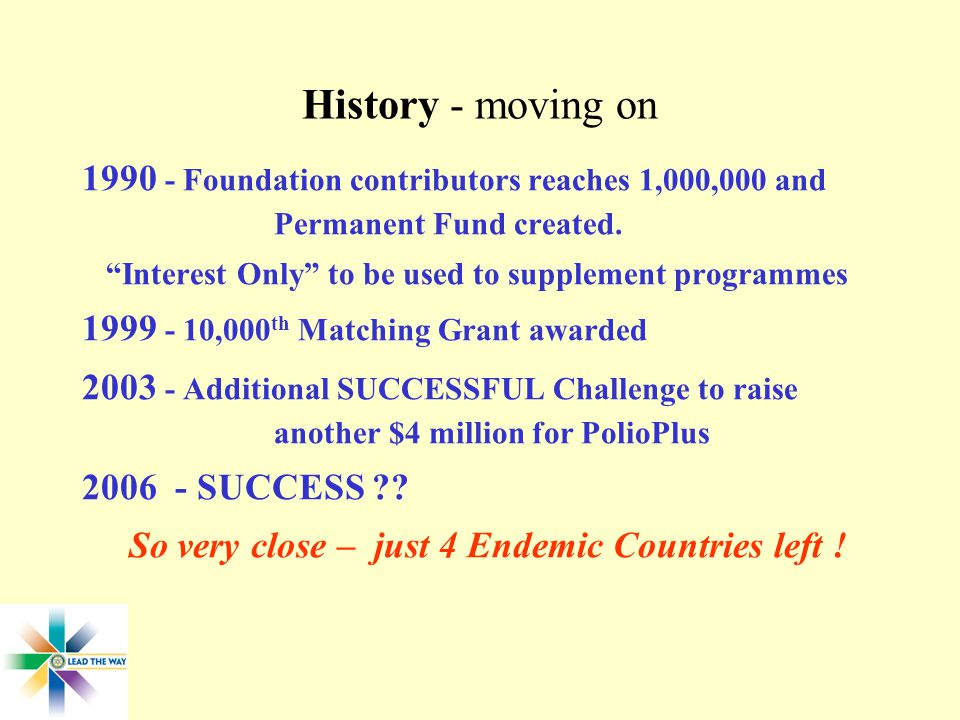 History - moving on Foundation contributors reaches 1,000,000 and Permanent Fund created.