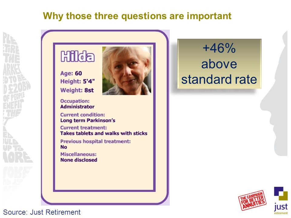 Why those three questions are important +46% above standard rate +46% above standard rate Source: Just Retirement