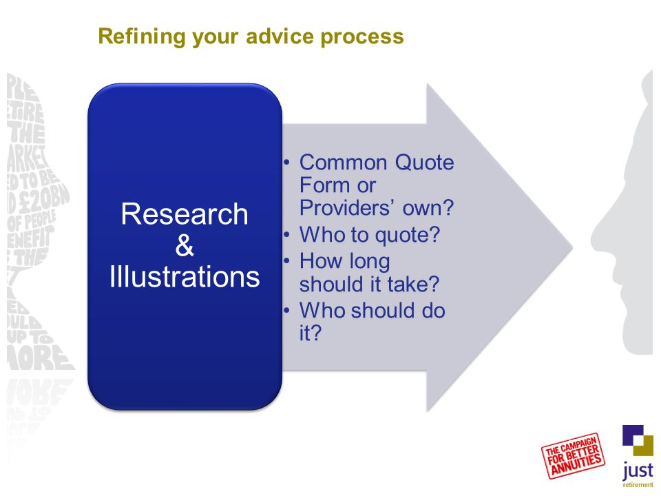 Refining your advice process Common Quote Form or Providers' own? Who to quote? How long should it take? Who should do it? Research & Illustrations