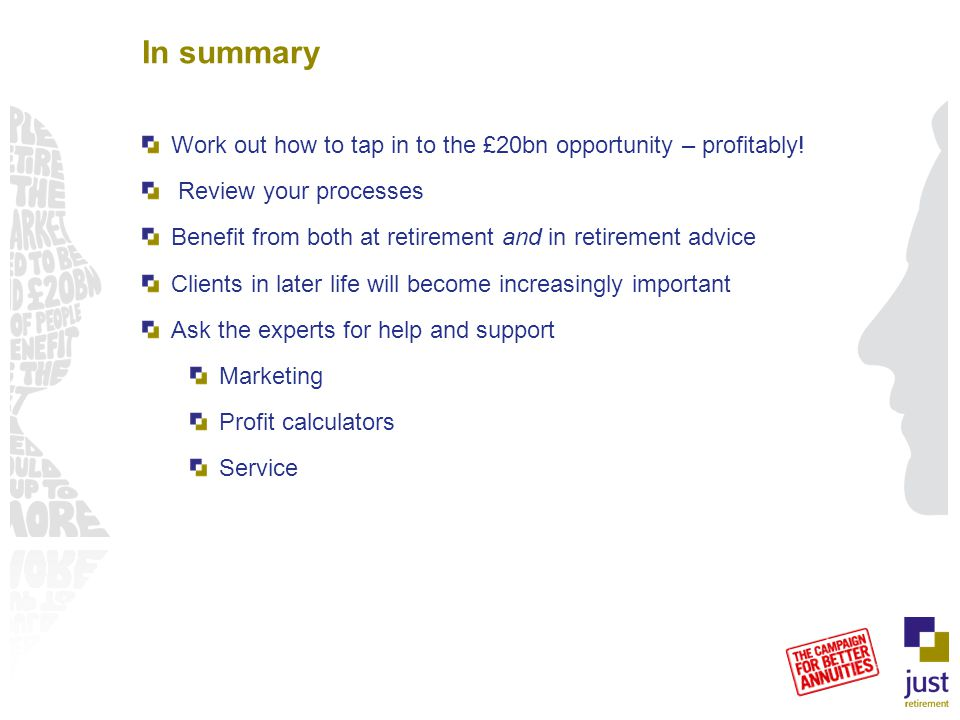 In summary Work out how to tap in to the £20bn opportunity – profitably! Review your processes Benefit from both at retirement and in retirement advic