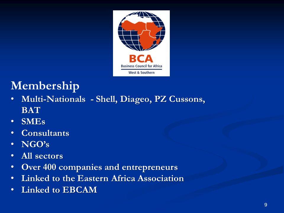 Membership Benefits Networking – investor briefings & networking Networking – investor briefings & networking lunches - FCO, UKTI & DFID lunches - FCO, UKTI & DFID Influence and Lobbying – Influence and Lobbying – ECOWAS, NEPAD, SADC and at Ambassadorial ECOWAS, NEPAD, SADC and at Ambassadorial and Ministerial level and Ministerial level Discount Opportunities – hotels, airlines, clubs Discount Opportunities – hotels, airlines, clubs Business Intelligence Information Business Intelligence Information Access to African and European Network Access to African and European Network 10