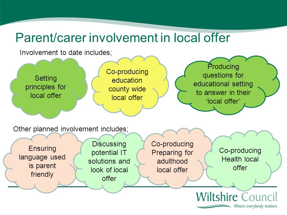 Parent/carer involvement in local offer Setting principles for local offer Ensuring language used is parent friendly Discussing potential IT solutions
