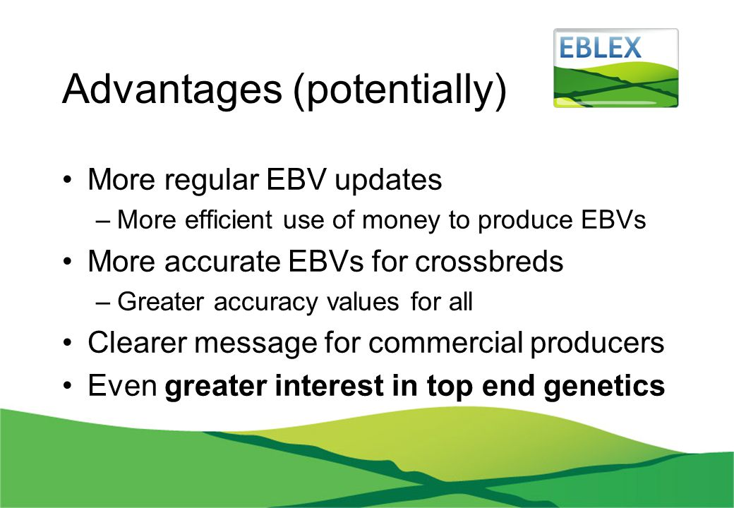 Advantages (potentially) More regular EBV updates –More efficient use of money to produce EBVs More accurate EBVs for crossbreds –Greater accuracy val