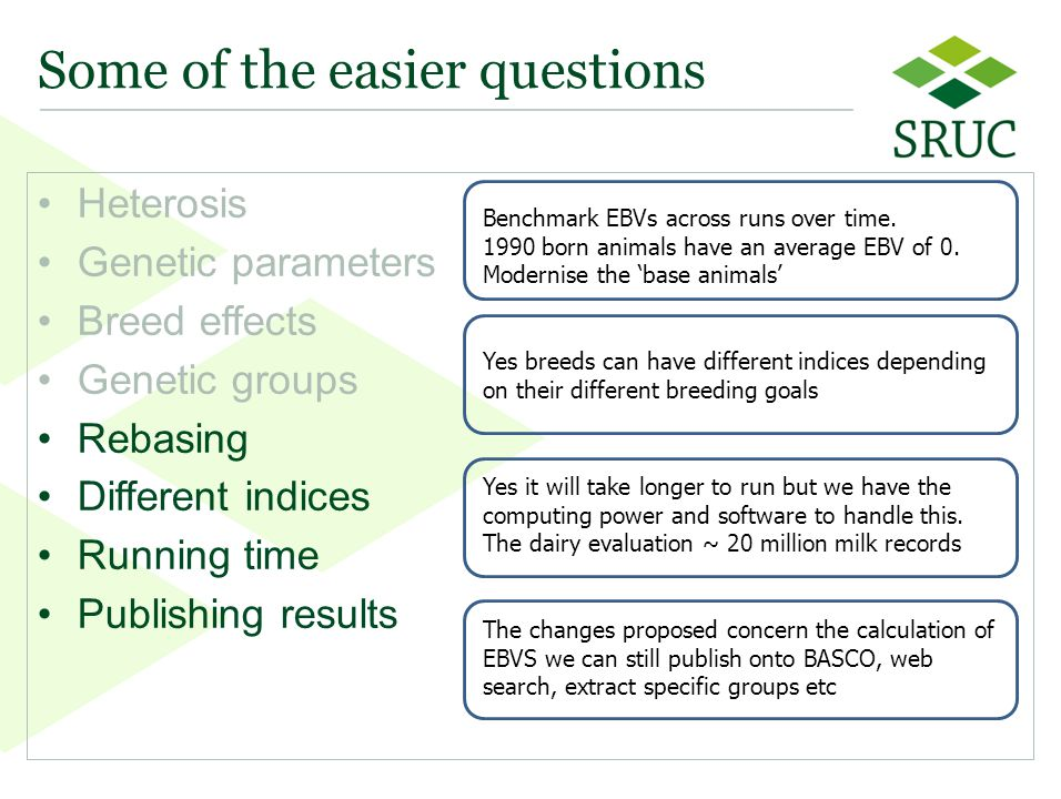 55 Some of the easier questions Heterosis Genetic parameters Breed effects Genetic groups Rebasing Different indices Running time Publishing results Benchmark EBVs across runs over time.