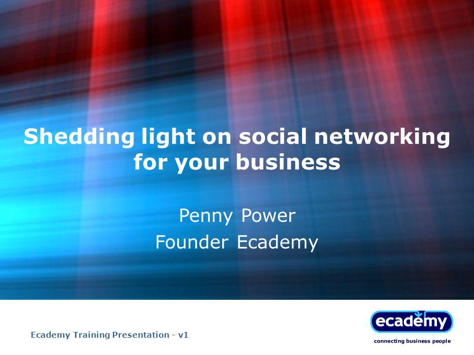 Ecademy Training Presentation - v122 Links to further resources: tinyurl.com/6ywvwa Social media shows on yBC: tinyurl.com/5mvk97