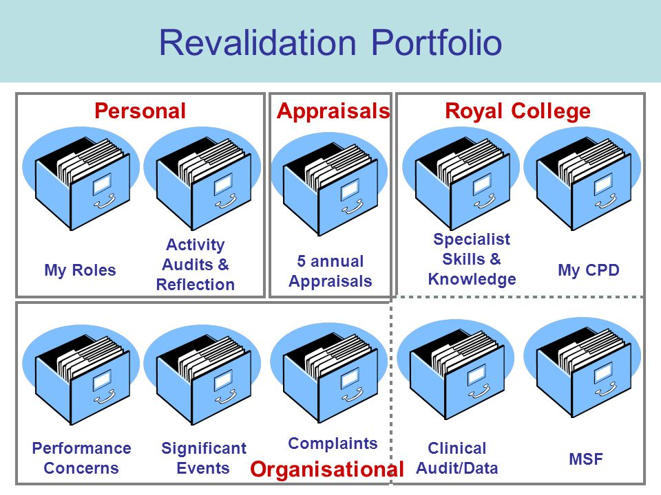 My Roles Clinical Audit/Data My CPD Complaints Significant Events Revalidation Portfolio MSF Activity Audits & Reflection Specialist Skills & Knowledge Performance Concerns 5 annual Appraisals PersonalRoyal CollegeAppraisals Organisational
