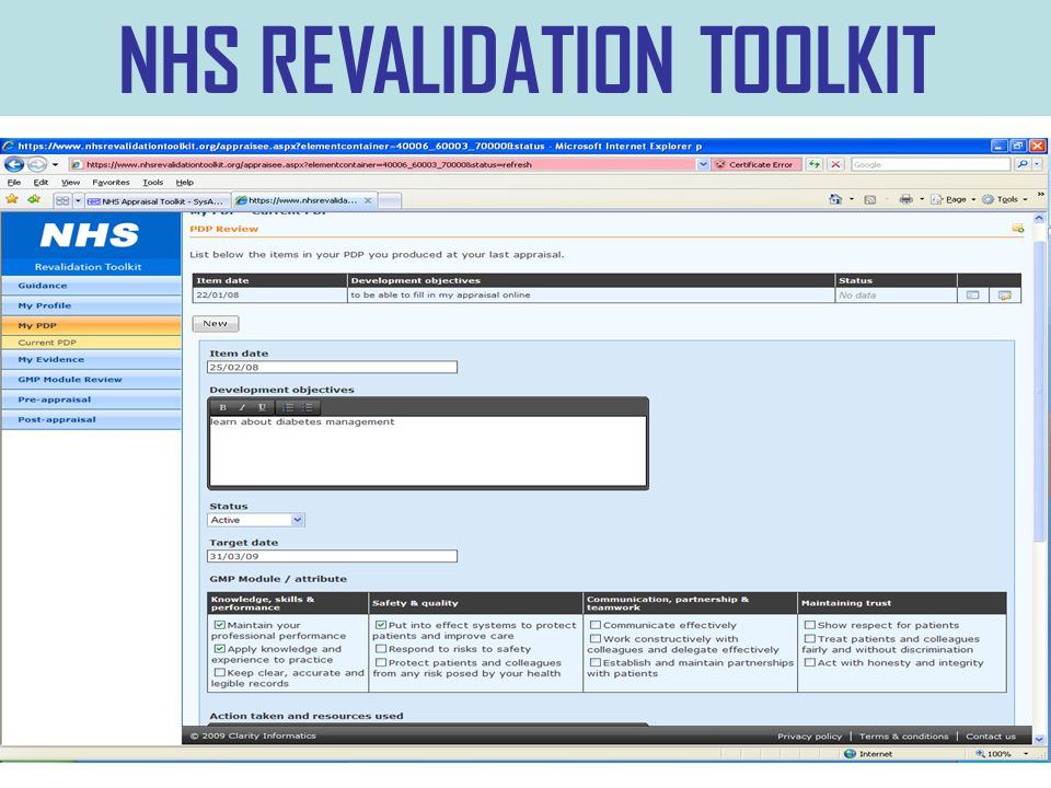 NHS REVALIDATION TOOLKIT