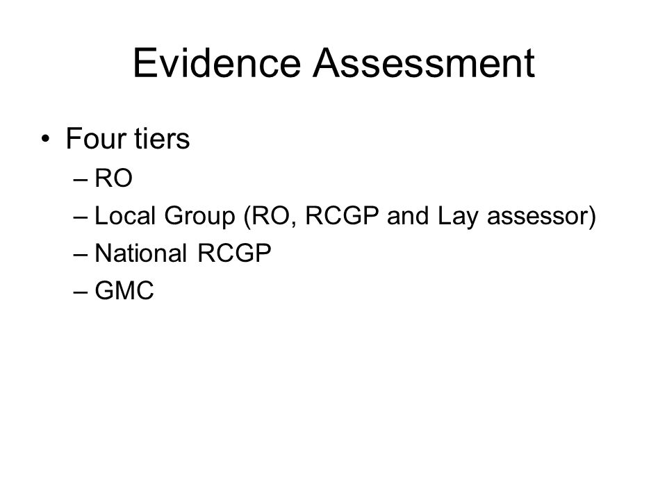 Evidence Assessment Four tiers –RO –Local Group (RO, RCGP and Lay assessor) –National RCGP –GMC