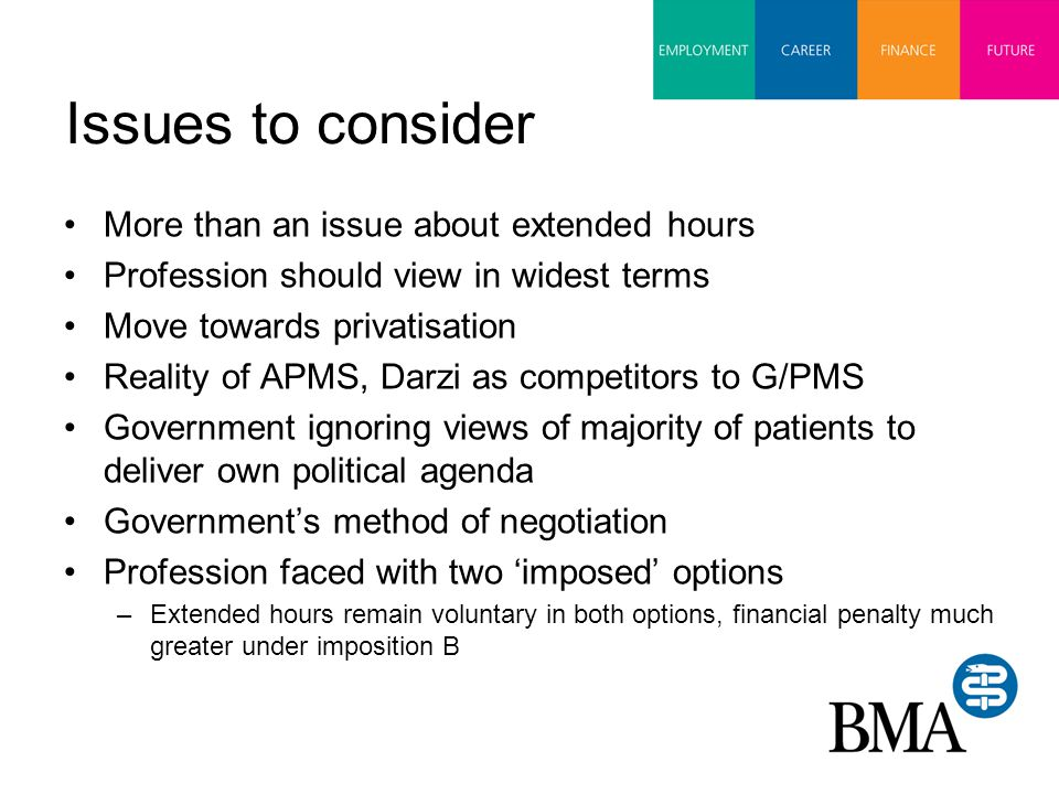 Issues to consider More than an issue about extended hours Profession should view in widest terms Move towards privatisation Reality of APMS, Darzi as competitors to G/PMS Government ignoring views of majority of patients to deliver own political agenda Government's method of negotiation Profession faced with two 'imposed' options –Extended hours remain voluntary in both options, financial penalty much greater under imposition B