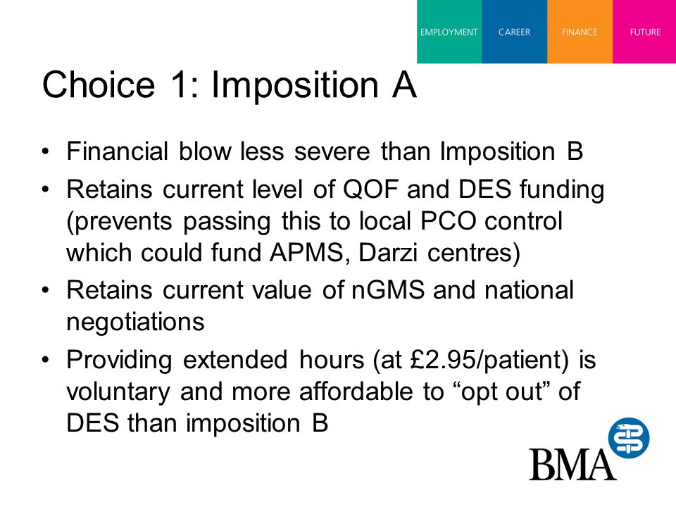 Choice 1: Imposition A Financial blow less severe than Imposition B Retains current level of QOF and DES funding (prevents passing this to local PCO control which could fund APMS, Darzi centres) Retains current value of nGMS and national negotiations Providing extended hours (at £2.95/patient) is voluntary and more affordable to opt out of DES than imposition B