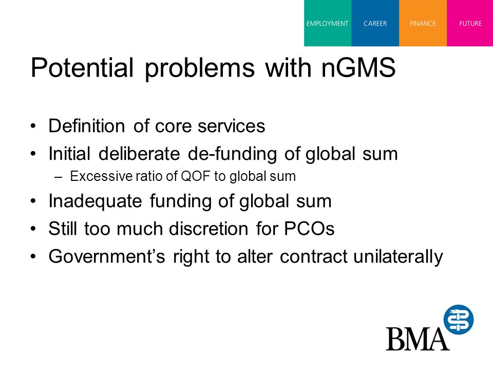 Potential problems with nGMS Definition of core services Initial deliberate de-funding of global sum –Excessive ratio of QOF to global sum Inadequate funding of global sum Still too much discretion for PCOs Government's right to alter contract unilaterally