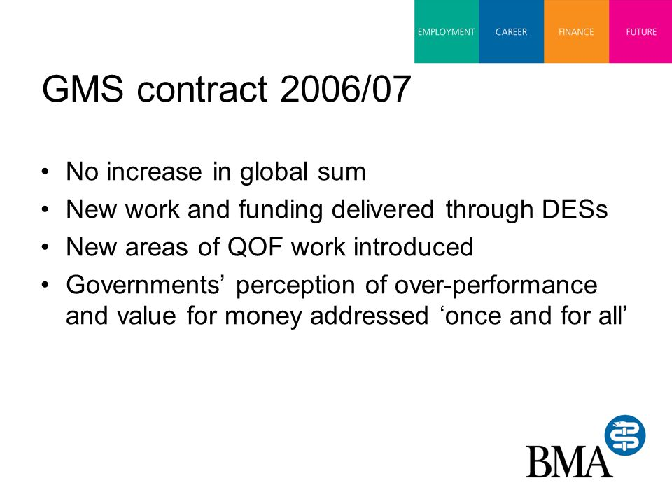 GMS contract 2007/08 DDRB recommends '0% pay increase' DoH interprets this as no resource increase for general practice