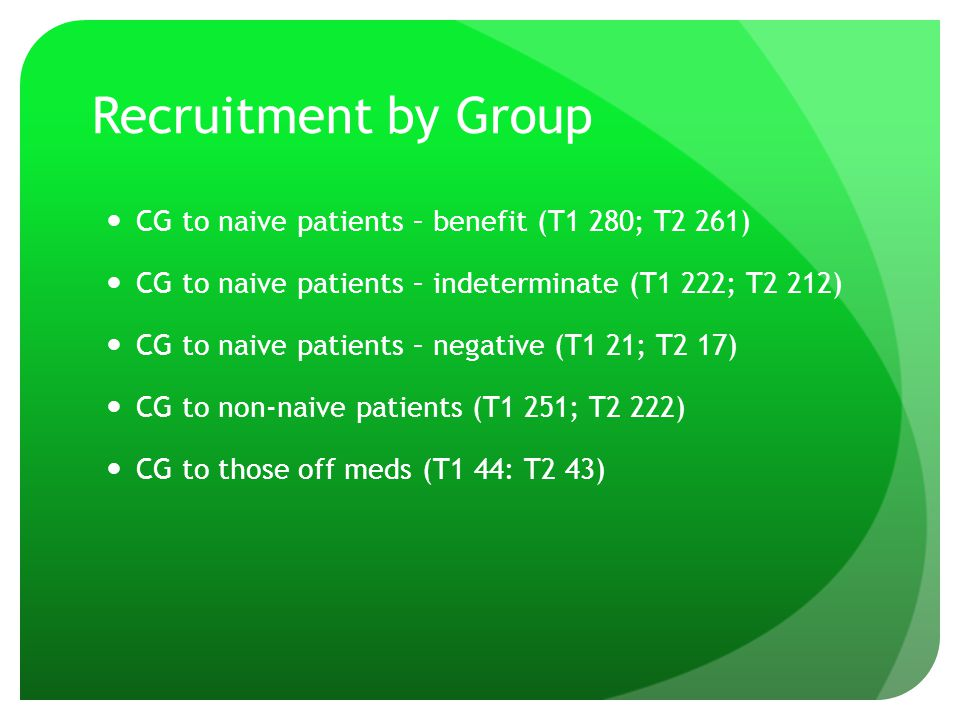 Recruitment by Group CG to naive patients – benefit (T1 280; T2 261) CG to naive patients – indeterminate (T1 222; T2 212) CG to naive patients – nega