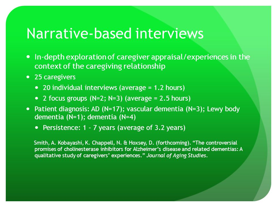 Narrative-based interviews In-depth exploration of caregiver appraisal/experiences in the context of the caregiving relationship 25 caregivers 20 individual interviews (average = 1.2 hours) 2 focus groups (N=2; N=3) (average = 2.5 hours) Patient diagnosis: AD (N=17); vascular dementia (N=3); Lewy body dementia (N=1); dementia (N=4) Persistence: 1 - 7 years (average of 3.2 years) Smith, A.