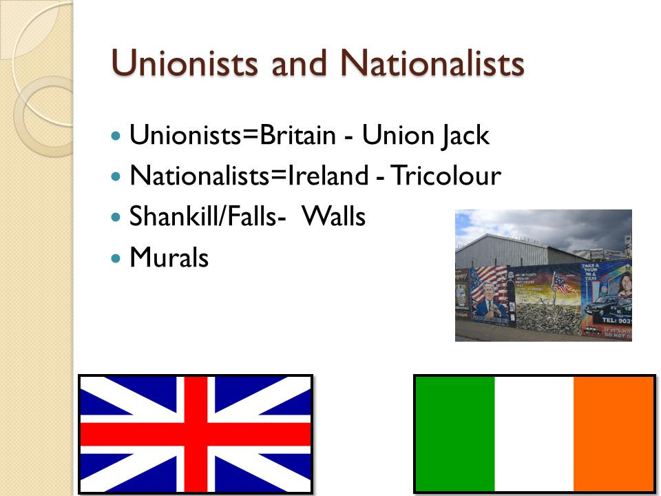 Unionists and Nationalists Unionists=Britain - Union Jack Nationalists=Ireland - Tricolour Shankill/Falls- Walls Murals