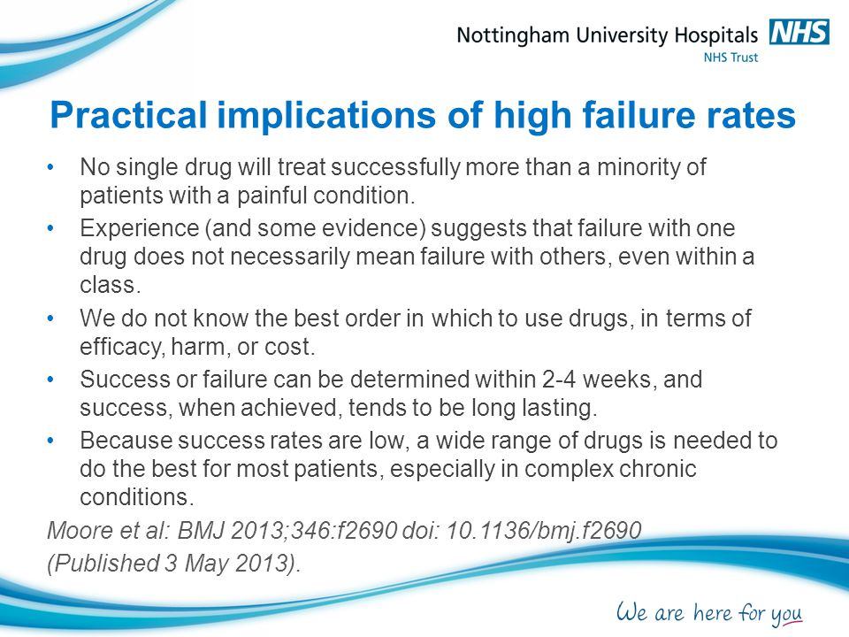 Practical implications of high failure rates No single drug will treat successfully more than a minority of patients with a painful condition.