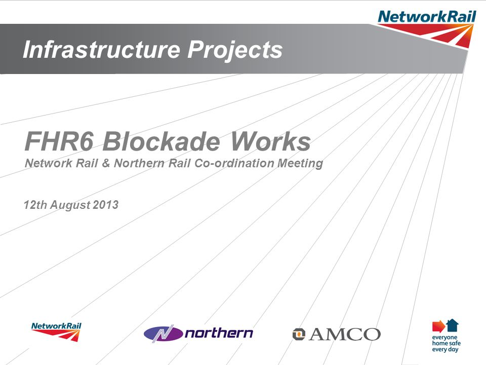 Infrastructure Projects 1 FHR6 Blockade Works 12th August 2013 Network Rail & Northern Rail Co-ordination Meeting