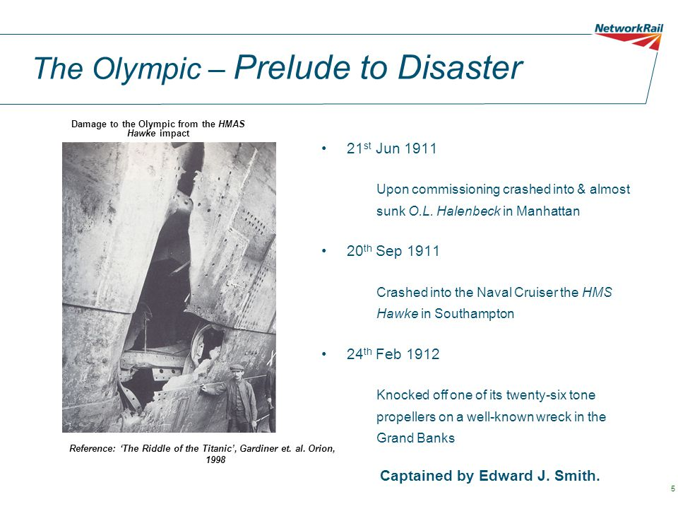 The Olympic – Prelude to Disaster 21 st Jun 1911 Upon commissioning crashed into & almost sunk O.L. Halenbeck in Manhattan 20 th Sep 1911 Crashed into