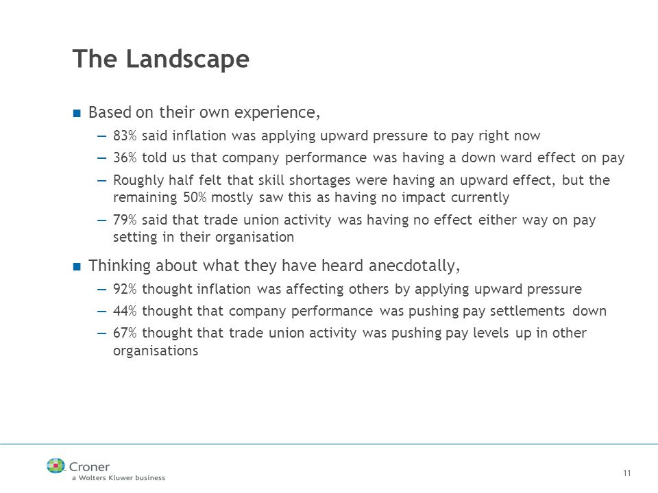 11 The Landscape Based on their own experience, —83% said inflation was applying upward pressure to pay right now —36% told us that company performance was having a down ward effect on pay —Roughly half felt that skill shortages were having an upward effect, but the remaining 50% mostly saw this as having no impact currently —79% said that trade union activity was having no effect either way on pay setting in their organisation Thinking about what they have heard anecdotally, —92% thought inflation was affecting others by applying upward pressure —44% thought that company performance was pushing pay settlements down —67% thought that trade union activity was pushing pay levels up in other organisations