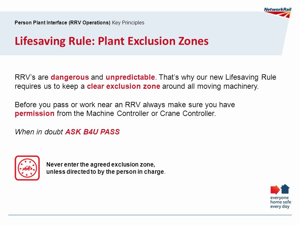 Person Plant Interface (RRV Operations) Key Principles Lifesaving Rule: Plant Exclusion Zones RRV's are dangerous and unpredictable. That's why our ne