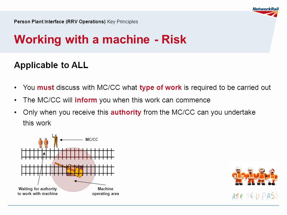 Person Plant Interface (RRV Operations) Key Principles Working with a machine - Risk Applicable to ALL You must discuss with MC/CC what type of work i