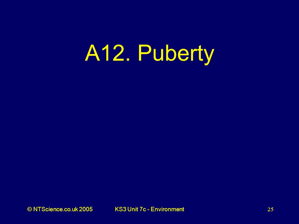 © NTScience.co.uk 2005KS3 Unit 7c - Environment25 A12. Puberty