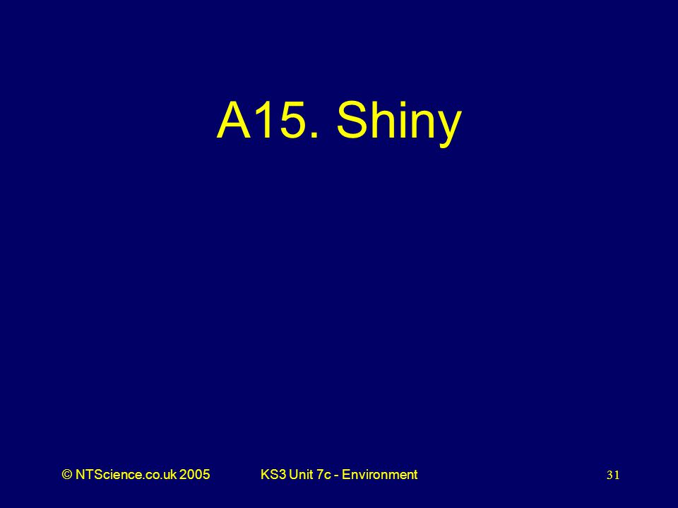 © NTScience.co.uk 2005KS3 Unit 7c - Environment31 A15. Shiny