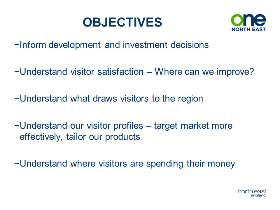 SUMMARY −Overseas and new first visitors are most in need of visitor information −Overall expenditure per person per day up £7, food and drink growth is strong −Satisfaction levels are good but could be better – although attractions, car parking and accommodation fared well −Customer service is good but not excellent −98% would recommend Northumberland to their friends and relatives